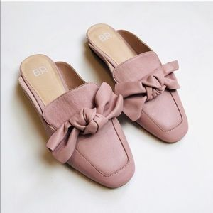BP Nordstrom Dusty Pink Maddy Bow Mule Loafers 6